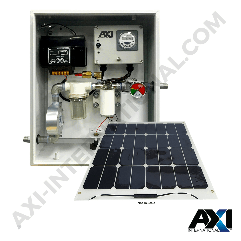 Solar powered fuel maintenance system for locations without grid power access.