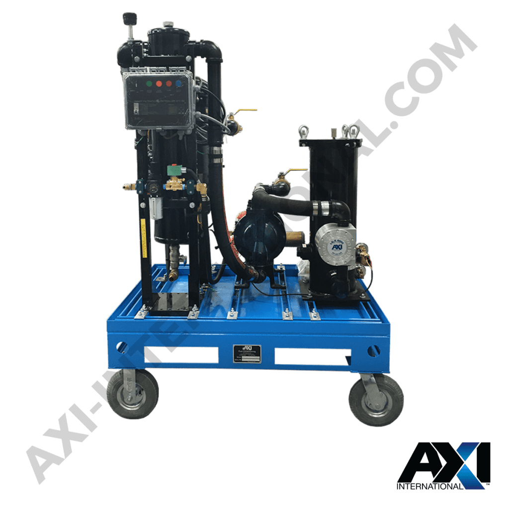 High capacity mobile fuel polishing cart high capacity system for diesel fuel management and filtration by AXI International.