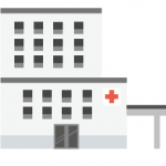 Hospital graphic icon for mission critical facilities backup power.