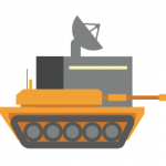 Military graphic icon for mission critical facilities backup power.