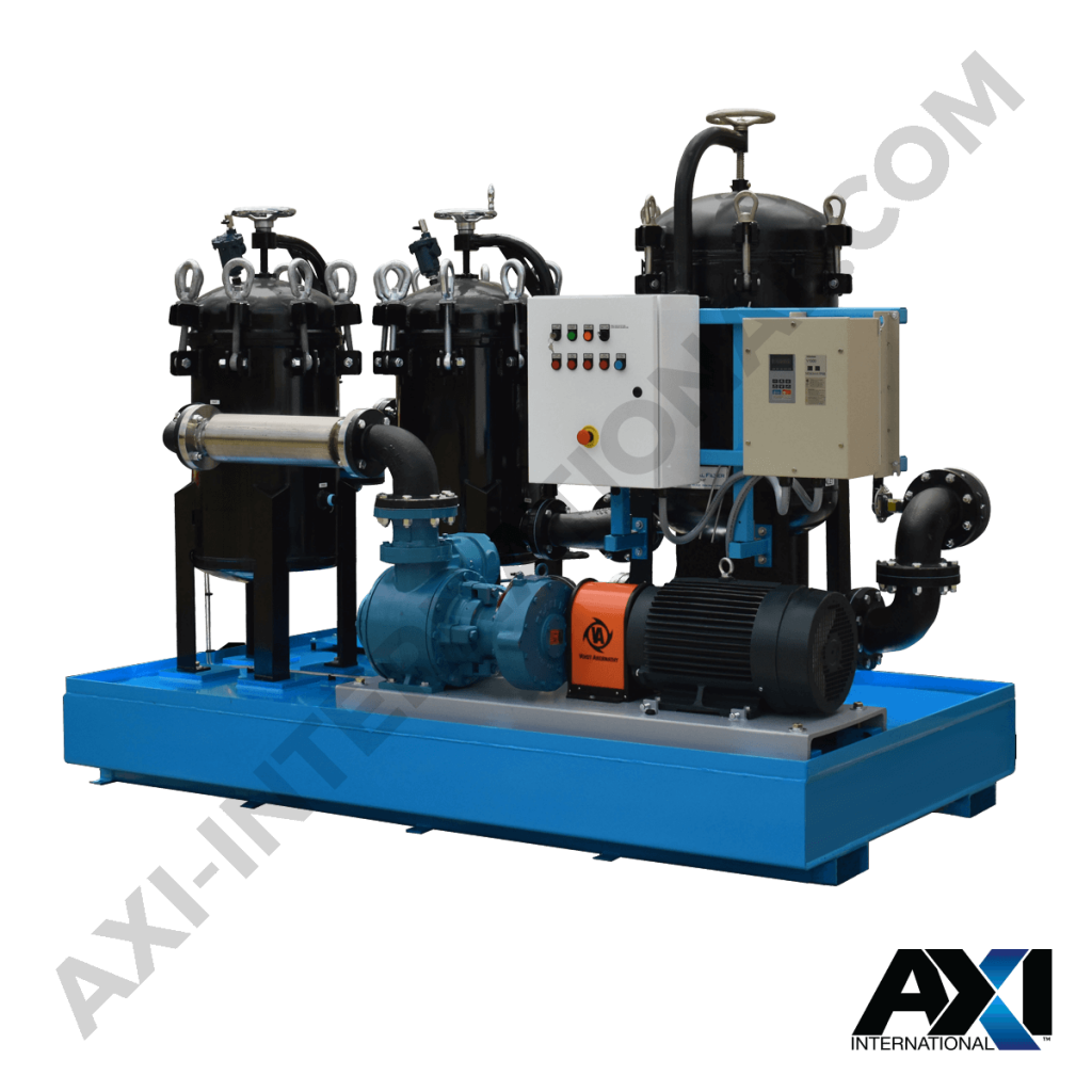 Mobile fuel polishing system for diesel maintenance in bulk storage tanks by AXI International.