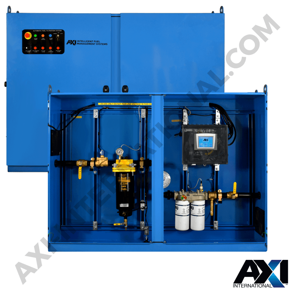 Fuel polishing system for maintenance management and removing contaminants in petrol, diesel, and other fuels by AXI International.