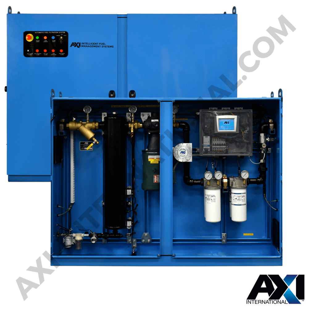 Fuel polishing system enclosure for diesel maintenance and management by AXI International.