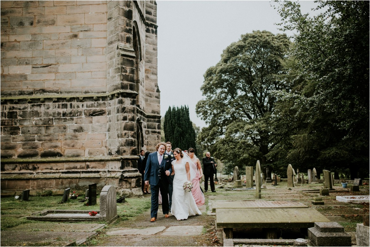 bridal exit outside of church, Documentary wedding photographer cheshire