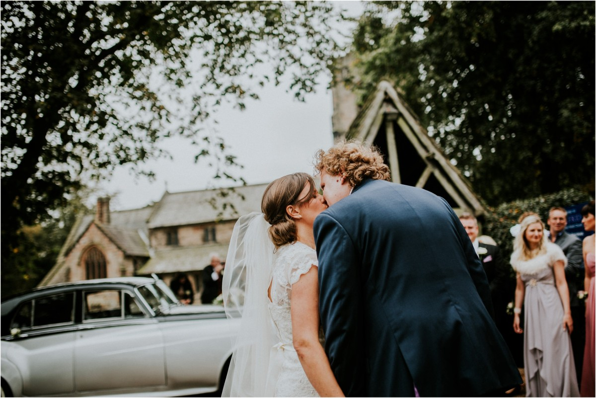 wedding day kiss, Documentary wedding photographer cheshire