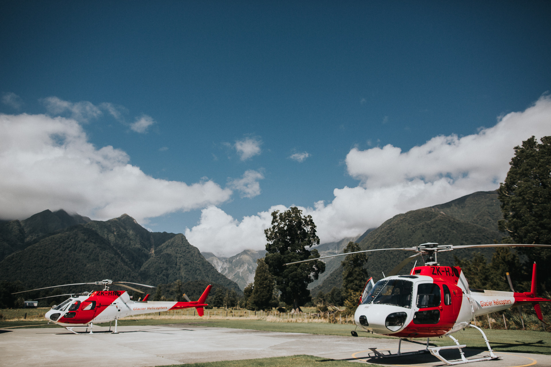helicopters at fox glacier