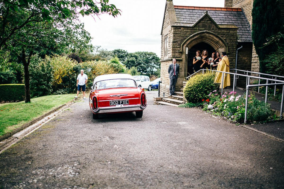 manchester wedding photographer, ayesha photography, alternative manchester wedding photographer, red vintage wedding car