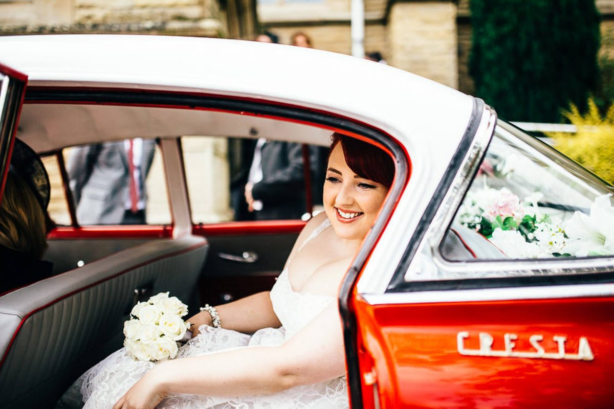 manchester wedding photographer, ayesha photography, alternative manchester wedding photographer, alternative bride, red vintage wedding car