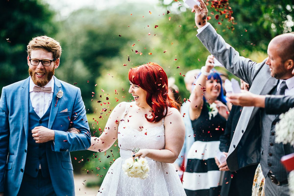 manchester wedding photographer, ayesha photography, alternative manchester wedding photographer, confetti, bride and groom