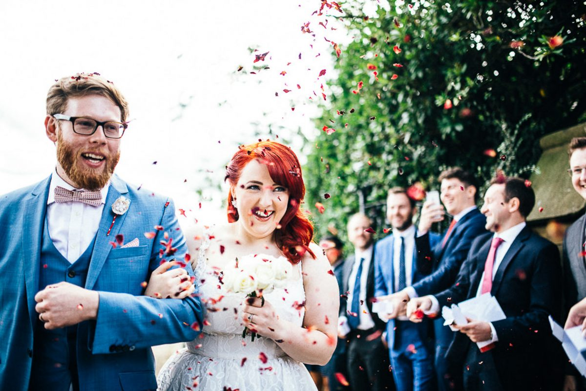 bride and groom confetti, manchester wedding photographer, lock 91 wedding, ayesha photography