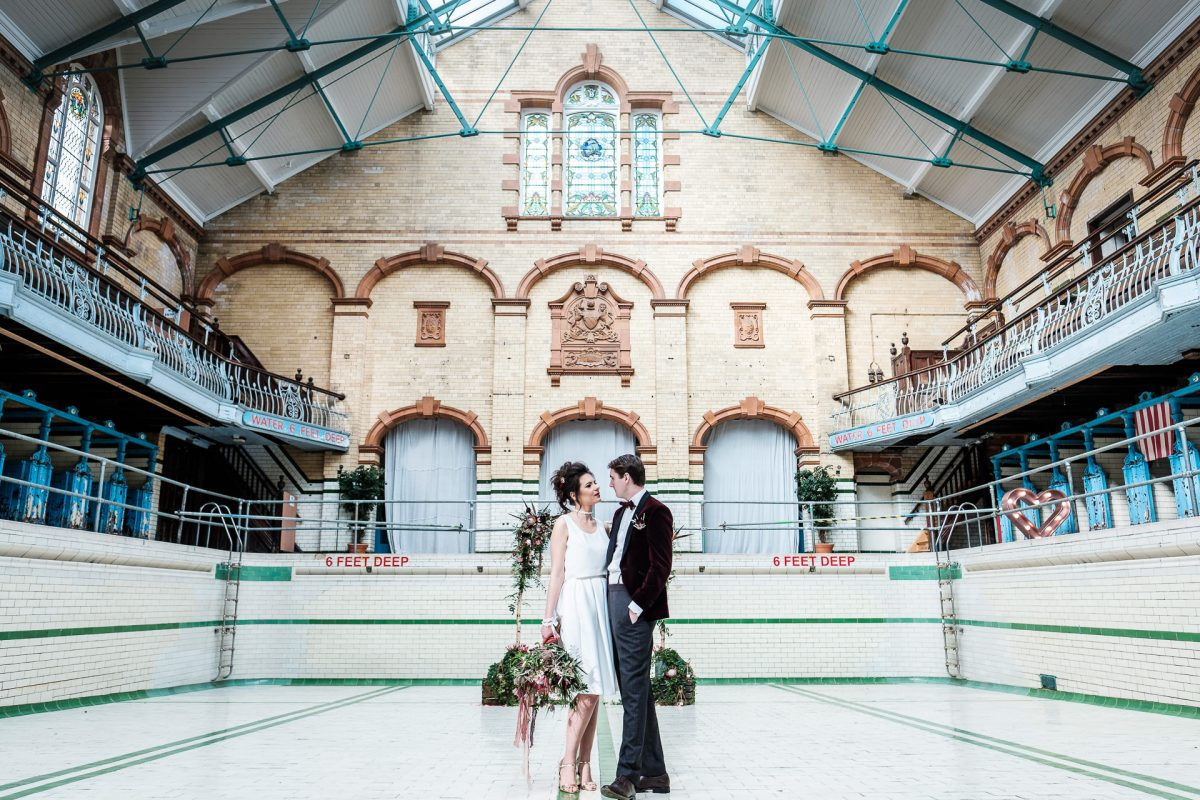 Shoot Joy Workshop, Wedding Photography Workshop in Manchester, Bride and Groom, Flowers, Victoria Baths