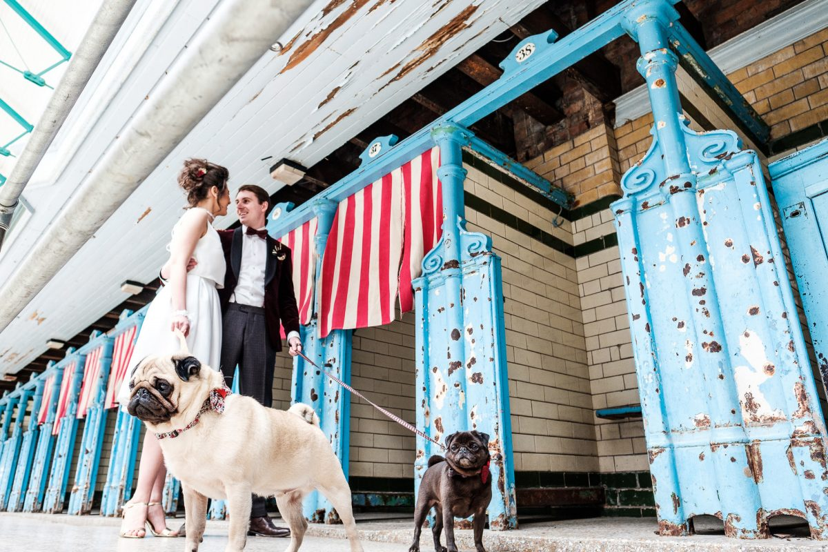 Shoot Joy Workshop, Wedding Photography Workshop in Manchester, Bride and Groom, Love letters, Victoria Baths, bride and groom with pug