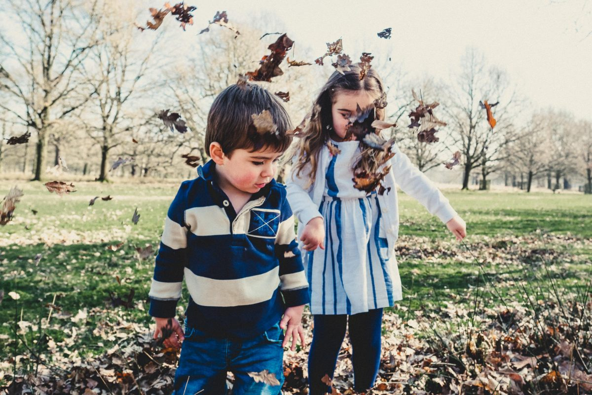 manchester family photographer, dunham massey family photography, ayesha photography, boy and girl playing with leaves at dunham massey