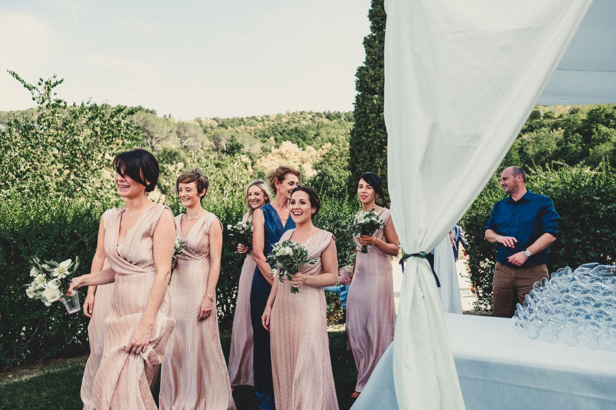 Wedding photographer in Umbria, Agriturismo I Frati Paciano, Italian wedding, Ayesha Photography, Destination wedding photography, Italy wedding photographer, Tuscany wedding photographer, Manchester wedding photographer, bridesmaids greet couple