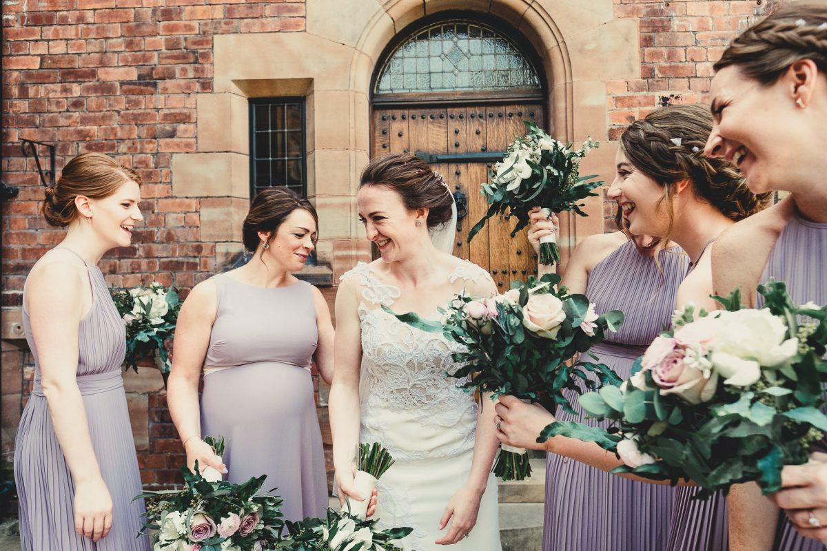 colshaw hall wedding photography, ayesha photography, manchester wedding photographer, manchester wedding photographer, cheshire wedding photographer, cheshire wedding photography, bride and bridesmaids laughin