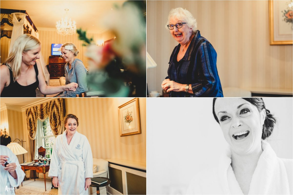 lucknam park wedding photographer, lucknam park wedding photography, lucknam park hotel and spa, lucknam park wedding, cotswolds wedding photographer, cotswolds wedding photography, lucknam spa and hotel wedding photographer, manchester wedding photographer, manchester wedding photography, ayesha photography, autumn wedding, rainy wedding photography, bridesmaids and mum getting ready at lucknam spa