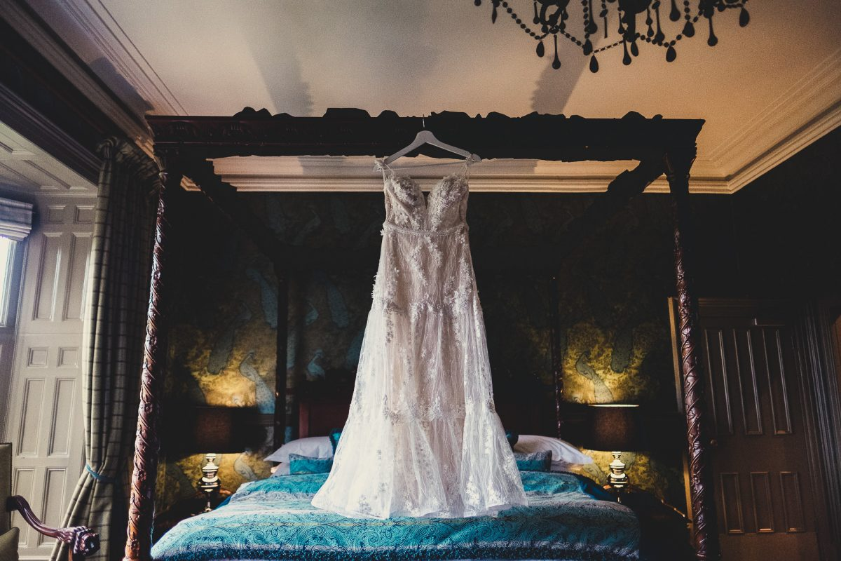 mitton hall wedding photography, mitton hall wedding photographer, mitton hall, mitton hall wedding, lancashire wedding photographer, lancashire wedding photography, manchester wedding photographer, manchester wedding photography, ayesha photography, wedding dress hanging on a four poster bed