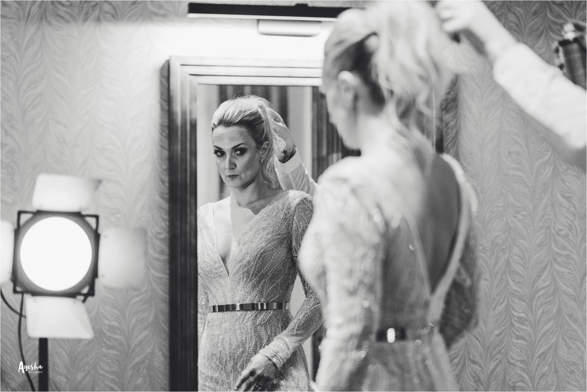 grand pacific manchester wedding photography, grand pacific manchester, manchester wedding photography, manchester wedding photographer, manchester city centre wedding, ayesha photography, creative manchester wedding photographer, hotel gotham wedding photographer, hotel gotham wedding, bride looks in the mirror