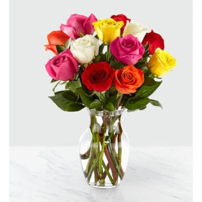 Sweetheart Mixed Rose Bouquet with Vase