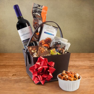 Canastas de Regalo Vino, Chocolates y Frutos Secos