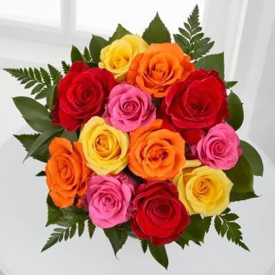 Simply Cheerful Mixed Rose Bouquet - 12 Stems of 16-inch Roses, no vase