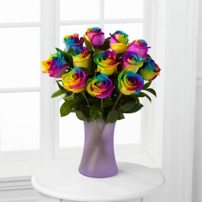 Time to Celebrate Rainbow Rose Bouquet - 12 Stems