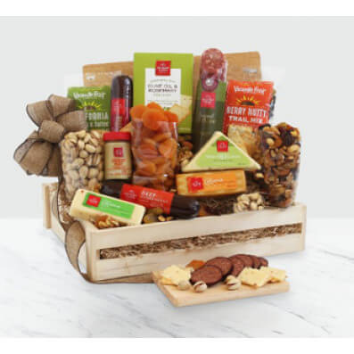 Deluxe Meat & Cheese Wooden Gift Crate