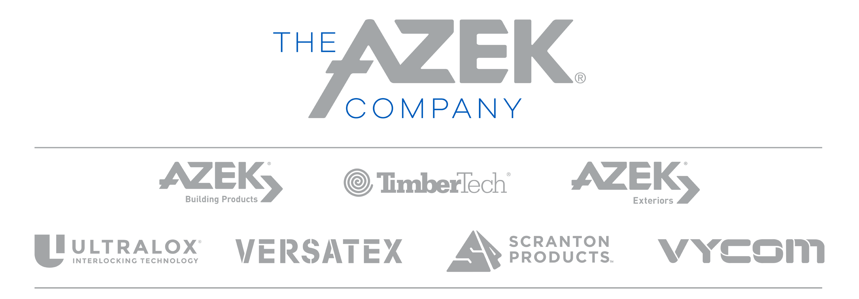 The AZEK Company logo and sub brand logos