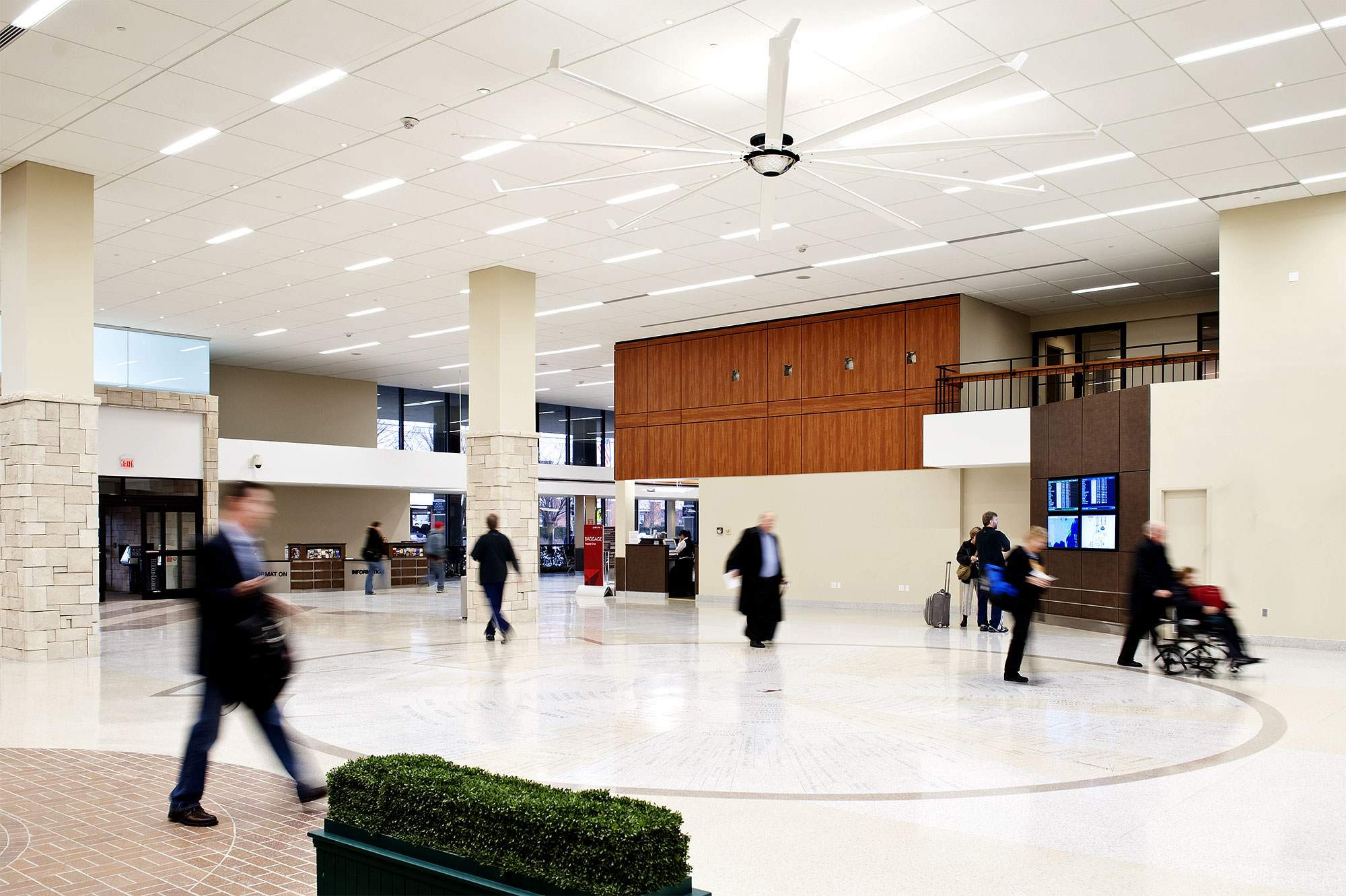 airport terminal ceiling fans reduce costs thanks to big ass fans