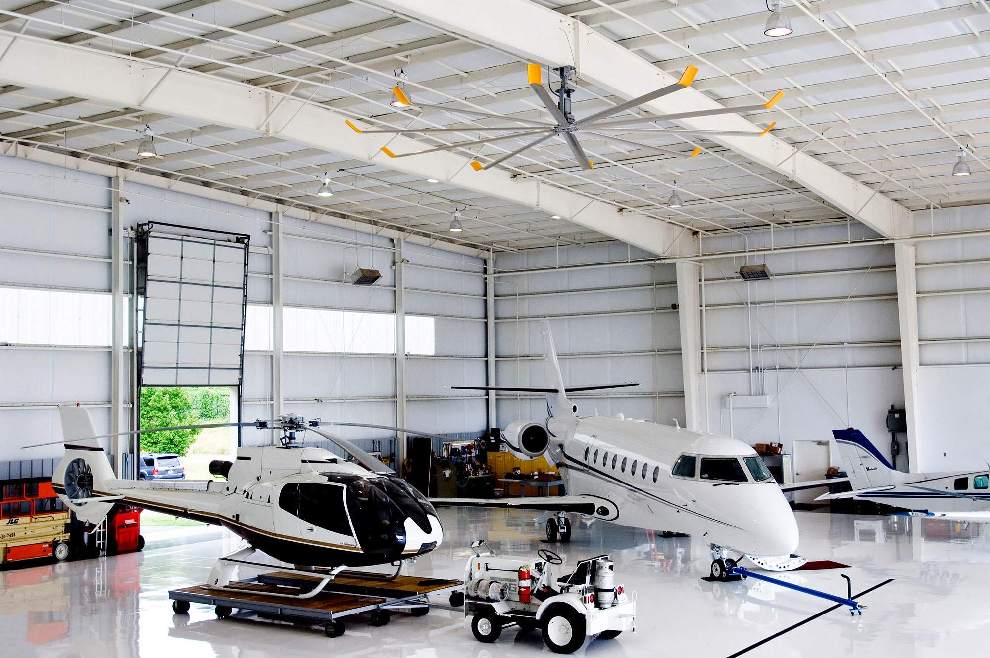 Private Plane With Garage : Private airplane hanger ceiling fans from big ass