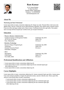 traditional light resume template