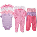 Faded Glory - Newborn Girls' 9-Piece Organic Cotton Set: Clothing