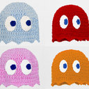 Pacman Ghost Hat in Blue Pink Red or Orange Crochet by GeekinOut