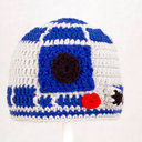 R2D2 Hat from Star Wars Grey and Royal Blue Crochet by GeekinOut