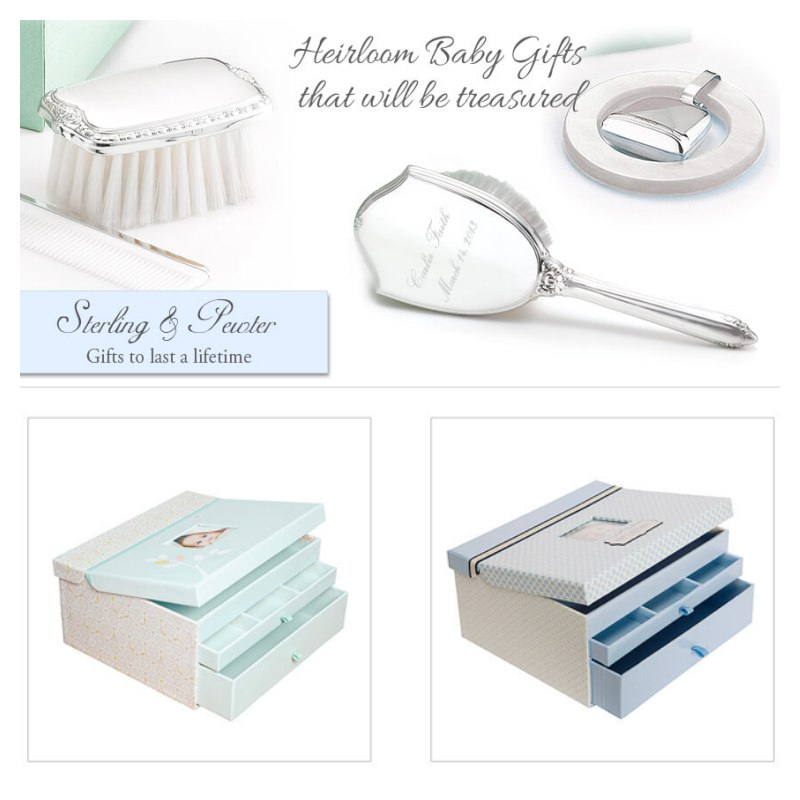 Gorgeous personalized baby gifts in sterling silver and pewter. These heirloom gifts are perfect for Baptism gifts for boys and girls.