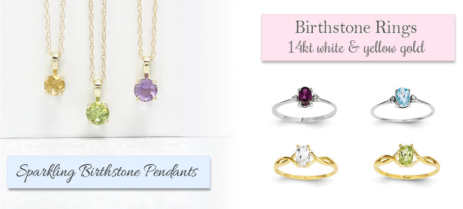 Beautiful selection of birthstone rings and birthstone necklaces for children, teens, and adults. Our birthstone jewelry is available in sterling or gold.