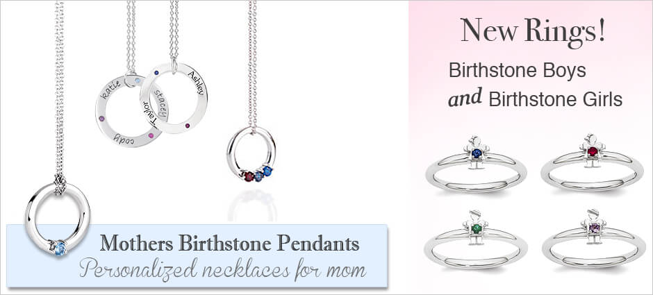 Mothers birthstone necklaces and pendants in classic designs. Engrave your children's names and add their birthstones. Our mothers birthstone rings are stackable!