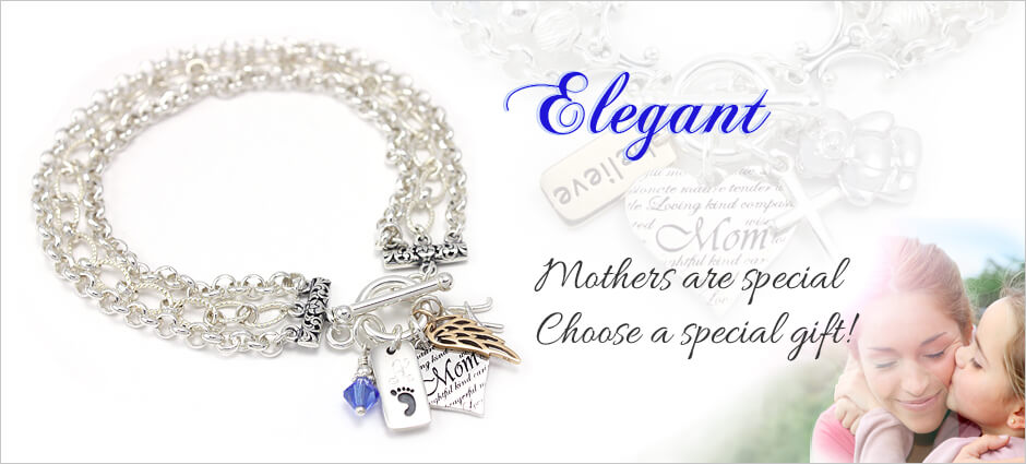 Our collection of mothers jewelry including mothers bracelets, name bracelets, and mother daughter jewelry.
