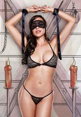 Love Slave - Black Lace Bra/ Panty/ Mask