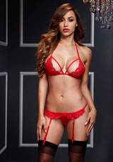 Red Lacy Bra Garter/Opencrotch Panty 2p
