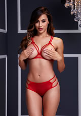 Red Strappy Open Cup Bra Set W/ Panty