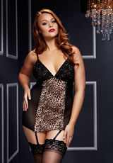 Leopard Basque W/Garter Stays No Panty Q