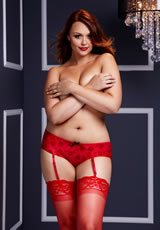 Red Rose Open Crotch Boyshort Panty Q