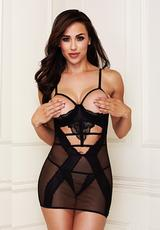 2 Pc Lace Mesh Show Me Chemise & Gstring