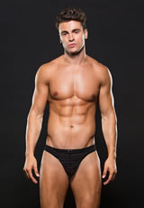Microfiber Thong L/Xl Stripe Black