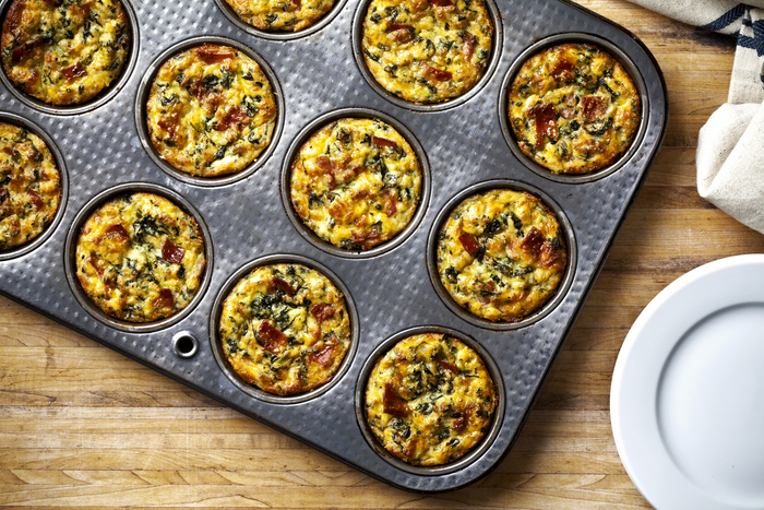 Individual Spinach and Bacon Quiches