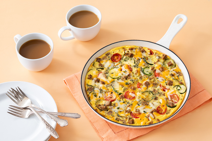 Easy Skillet Sausage Egg Bake with Sausage Crumbles