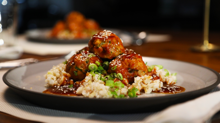 Korean Turkey Meatballs with Brown Rice and Gochujang Sauce