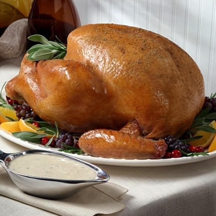 Roasted Turkey with Mushroom Herb Sauce