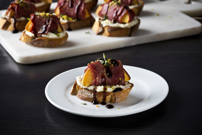 Crostini Topped with Bacon-Wrapped Peaches